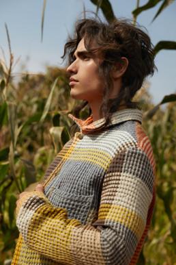 Model in Rwanda cornfield