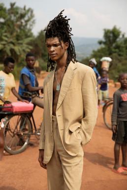 Model with Rwanda kids