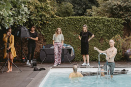 Behind the scenes pool photoshoot