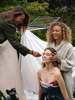 Beauty shoot behind the scenes make-up