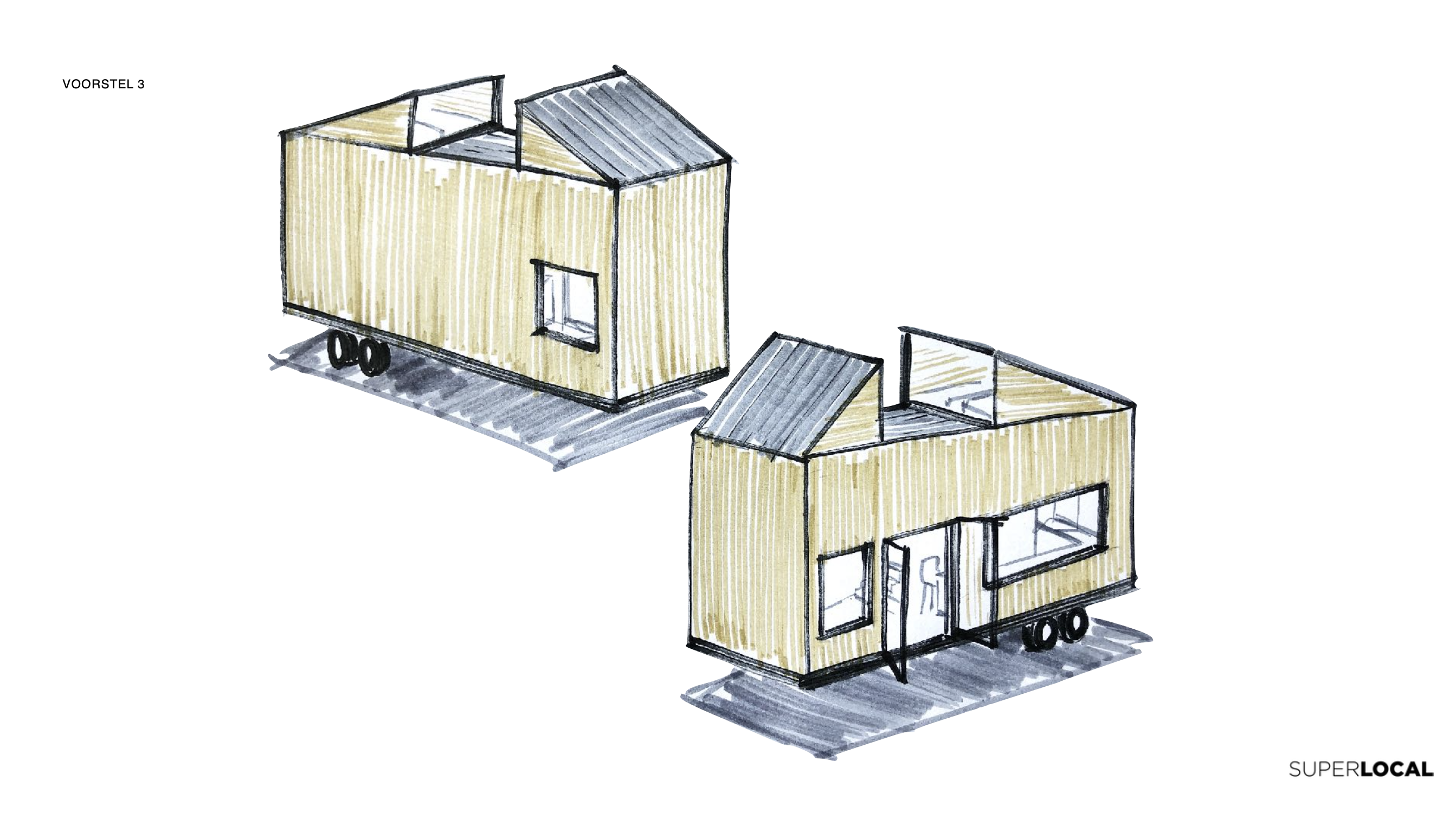 Tiny house design sketches by Super Local