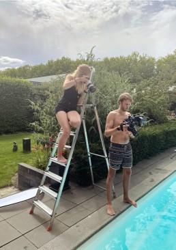 Pool beauty shoot behind the scenes